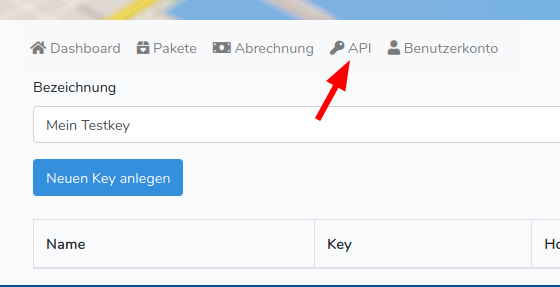 API Key anlegen